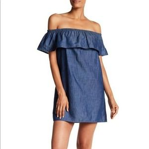 Soft Joie Nilima Denim Chambray Ruffle Off Shoulder Mini Dress Size S Linen